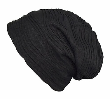 Black Fleece Lined Unisex Winter Beanie Hat Skull Caps Wave