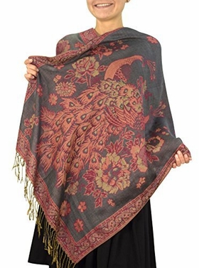 Grey Bird Print Floral Reversible Double Layered Pashmina Wrap Shawl Scarf