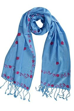 Floral Embroidered Vintage Shawl Scarf Wrap with Fringe