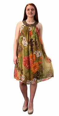 Olive-Green Floral Frock Midi Dress Embellished Tunic Neckline (Small)