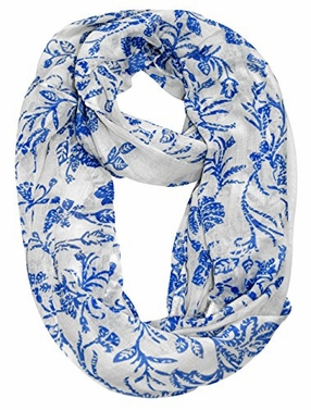 Peach Couture Floral Garden Vine Print Solid Colored Sheer Infinity Loop Scarf (Cream)