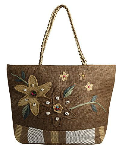 Brown Beige Floral Jute Handbags Multipurpose Shoulder Bags Purse