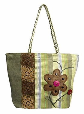 Green Floral Jute Handbags Multipurpose Shoulder Bags Purse (2)