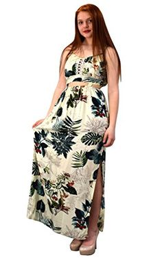 Off white Green Floral Leaf Print Cut Out Waist Spaghetti Strap Summer Maxi Dress