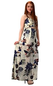 Off white Navy Floral Leaf Print Cut Out Waist Spaghetti Strap Summer Maxi Dress