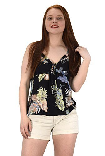 Floral Leaf Print Spaghetti Strap Tie Neck Blouse Tops Shirts