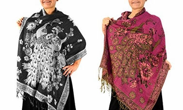 Peach Couture Floral Peacock Reversible Pashmina Wrap Shawl Scarf (Black/Fuchsia 2 Pack)
