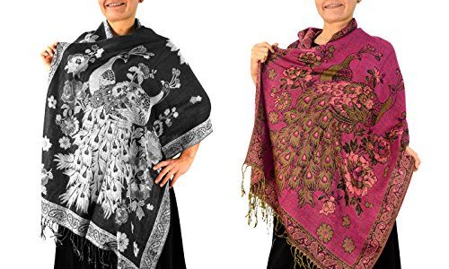 Black Fuchsia Floral Peacock Reversible Pashmina Wrap Shawl Scarf (2 Pack)