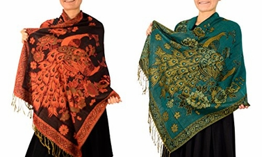 Black Teal Floral Peacock Reversible Pashmina Wrap Shawl Scarf (2 Pack)