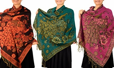 Peach Couture Floral Peacock Reversible Pashmina Wrap Shawl Scarf (Black/Teal/Fuchsia 3 Pack)
