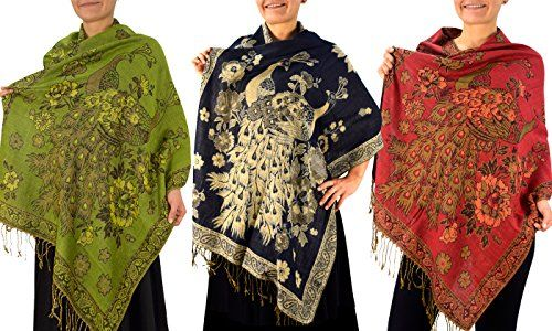 3 Pack Floral Peacock Reversible Pashmina Wrap Shawl Scarf (Olive/Navy/Red)