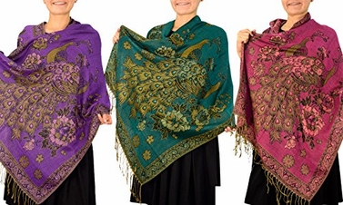 Purple Teal Fuchsia Peacock Reversible Pashmina Wrap Shawl Scarf 3 Pack