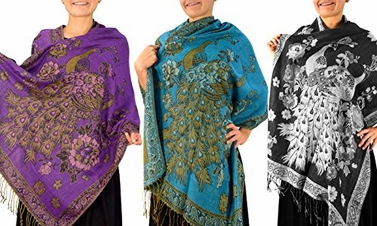 3 Pack Floral Peacock Reversible Pashmina Wrap Shawl Scarf (Purple/Turquoise/Black)