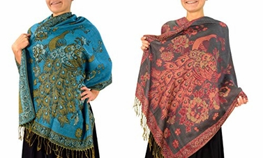 Peach Couture Floral Peacock Reversible Pashmina Wrap Shawl Scarf (Turquoise/Grey 2 Pack)