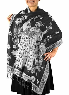 Peach Couture Floral Peacock Reversible Shimmer Layered Pashmina Wrap Shawl Scarf
