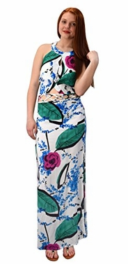 Floral Print Cut Out Waist Side Slit Crochet Tie Back Maxi Dress