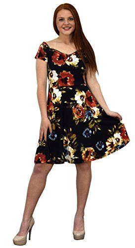 Floral Print Princess Seam Fit and Flare Cocktail Skater Dress