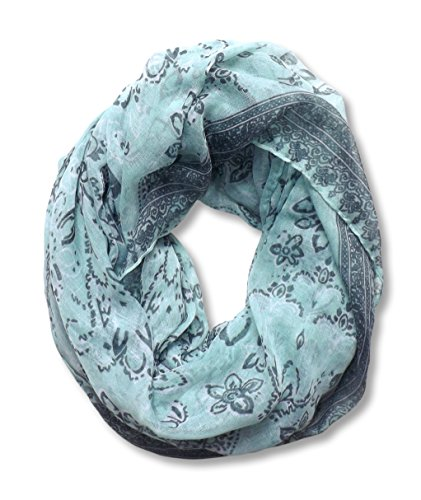 Mint Floral Tattoo Paisley Print Infinity Loop Scarf