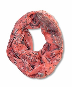 Floral Tattoo Paisley Print Lightweight Infinity Loop Scarf (Salmon)