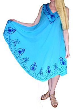 Colorful Flowing Embroidered Sequin Cover up Handkerchief Dress (One Size)
