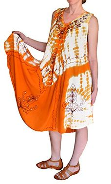 Tie Dye Flowing Tie Dye Embroidered Gem Cover Up Handkerchief Beach Dress (One Size)