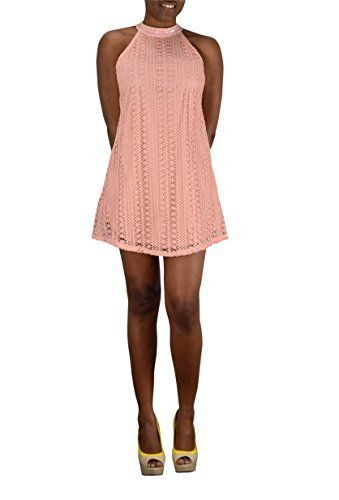 Peach Couture Fun Elegant Moments Lined Summer Halter Crochet Cocktail Mini Lace Dress (Large, Peach)