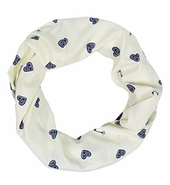 Abstract Print Light Weight Infinity Loop Scarves Cream Heart and Key