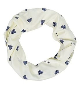 Peach Couture Funky Abstract Print Light Weight Infinity Loop Scarves Cream Heart and Key