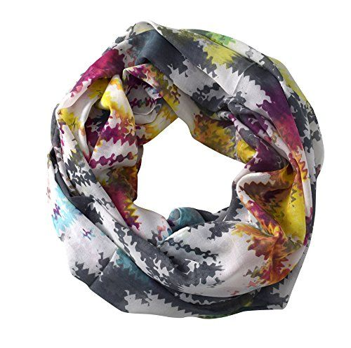 Abstract Print Light Weight Infinity Loop Scarves Rainbow Print