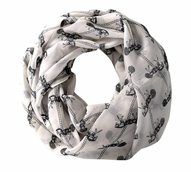 Abstract Print Light Weight Infinity Loop Scarves White Horse