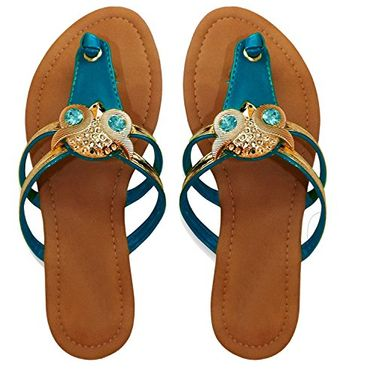 Gem Studded Open Back Synthetic Leather Flat Thong Sandal 5