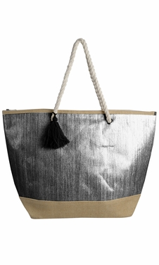 Peach Couture Gold Weave Large Travel Tote Hobo Handbags Shoulder Bags Black Silver