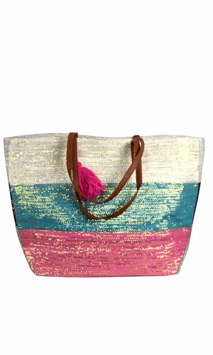 Fuchsia Teal Gold Weave Large Travel Tote Hobo Handbags Shoulder Bags