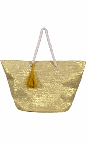 Peach Couture Gold Weave Large Travel Tote Hobo Handbags Shoulder Bags Gold