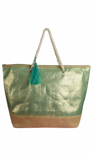 Green Gold Weave Large Travel Tote Hobo Handbags Shoulder Bags