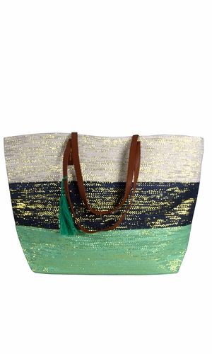Green Navy Gold Weave Large Travel Tote Hobo Handbags Shoulder Bags