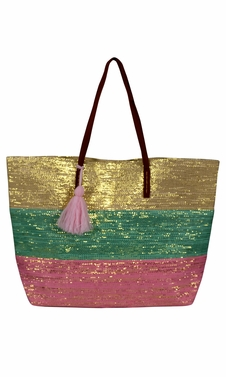 Peach Couture Gold Weave Large Travel Tote Hobo Handbags Shoulder Bags Mint Pink