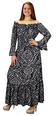 Gypsy Boho 3/4 Sleeves Smocked Waist Tiered Renaissance Maxi Dress