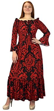 Red Black Gypsy Boho 3/4 Sleeves Smocked Waist Tiered Renaissance Maxi Dress