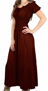 Chocolate Brown Gypsy Boho Cap Sleeves Smocked Waist Tiered Renaissance Maxi Dress