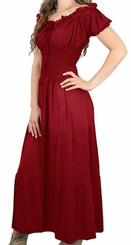 Crimson-Red Gypsy Boho Cap Sleeves Smocked Waist Tiered Renaissance Maxi Dress