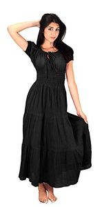 Gypsy Boho Cap Sleeves Smocked Waist Tiered Renaissance Maxi Dress (Small)