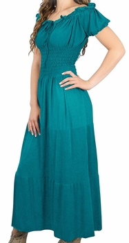 Teal Gypsy Boho Cap Sleeves Smocked Waist Tiered Renaissance Maxi Dress