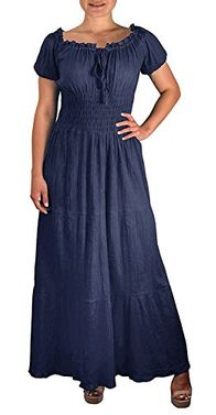 Gypsy Boho Cap Sleeves Smocked Waist Tiered Renaissance Maxi Dress (XL)