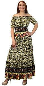 Black Yellow Gypsy Boho Floral Printed Smocked Waist Tiered Renaissance Maxi Dress