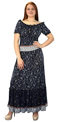 Peach Couture Gypsy Boho Floral Printed Smocked Waist Tiered Renaissance Maxi Dress Navy Blue