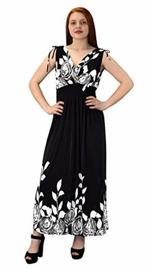 Black Gypsy Floral Rose Print Sleeveless Elastic Waist Boho Maxi Dress Large
