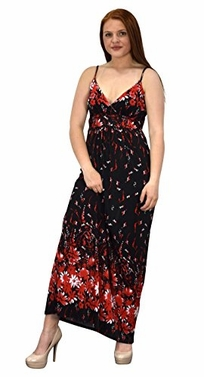 Gypsy Floral Rose Print Sleeveless Elastic Waist Boho Maxi Dress (Large)