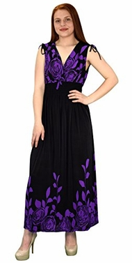 Gypsy Floral Rose Print Sleeveless Elastic Waist Boho Maxi Dress X-Large