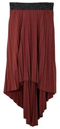 Burgundy Hi Lo Pleated Skirt With Ribbon Stitch Elastic Waist M